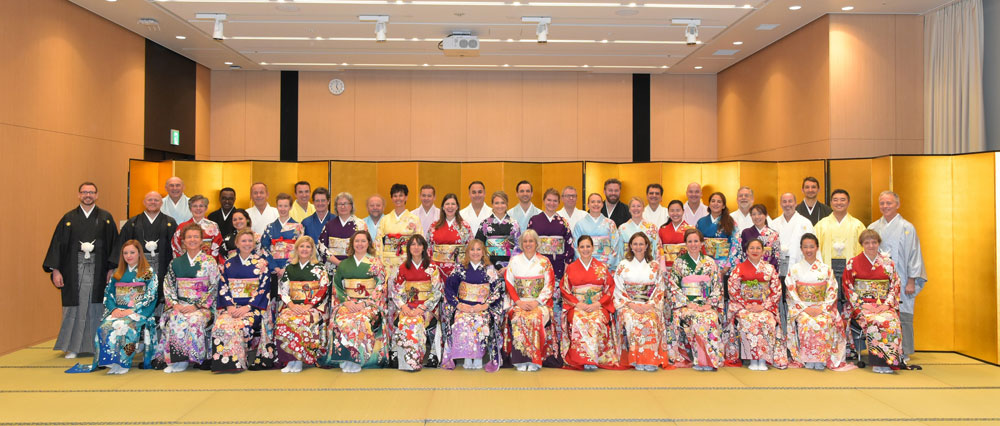 Partners and delegates looking their best in exquisite Japanese Kimonos.