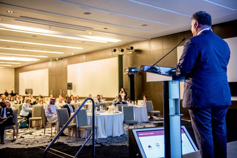 Day 1: Global futurist Rohit Talwar delivering IBTM Arabia's keynote session