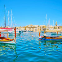 Boats in Valetta Harbour, Malta.