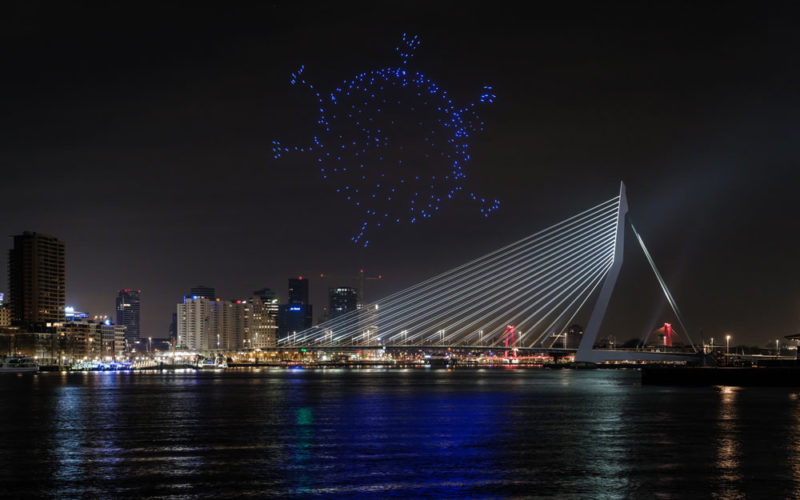 Rotterdam sees in the new year with drone show